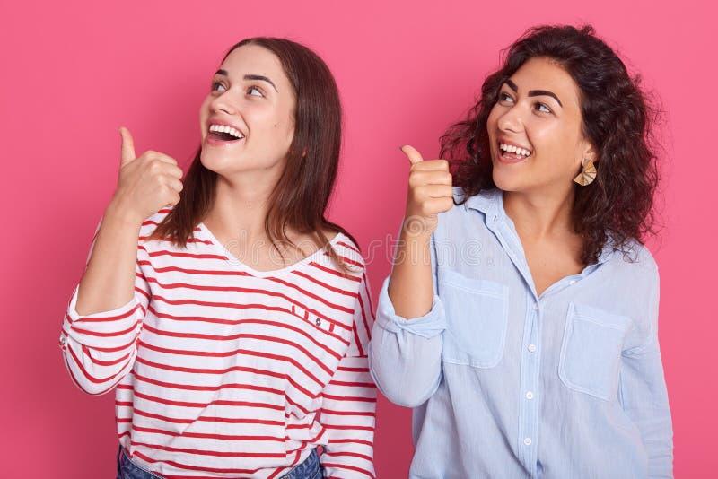 Retrato aproximado de duas mulheres sorrindo felizes usando roupas casuais, em pé contra o fundo do estúdio cor-de-rosa e apontan foto de stock royalty free