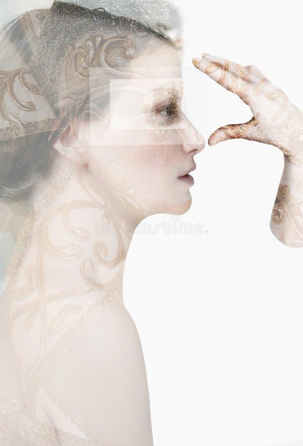 Retrato artístico da menina no estilo Indie imagens de stock royalty free