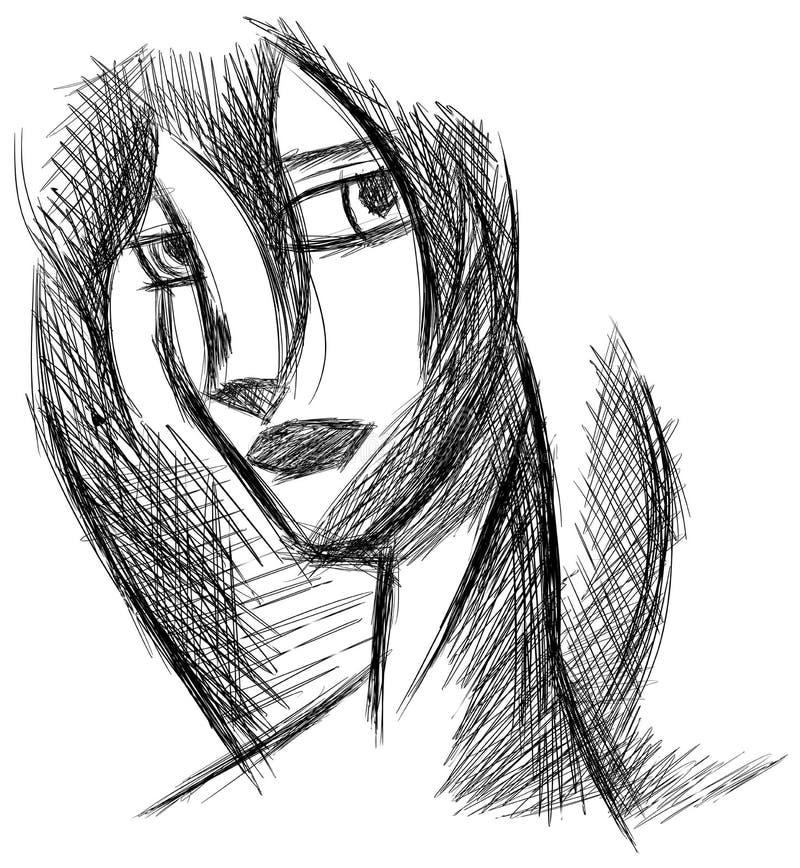 Retrato artístico estilizado de la mujer aislado ilustración del vector