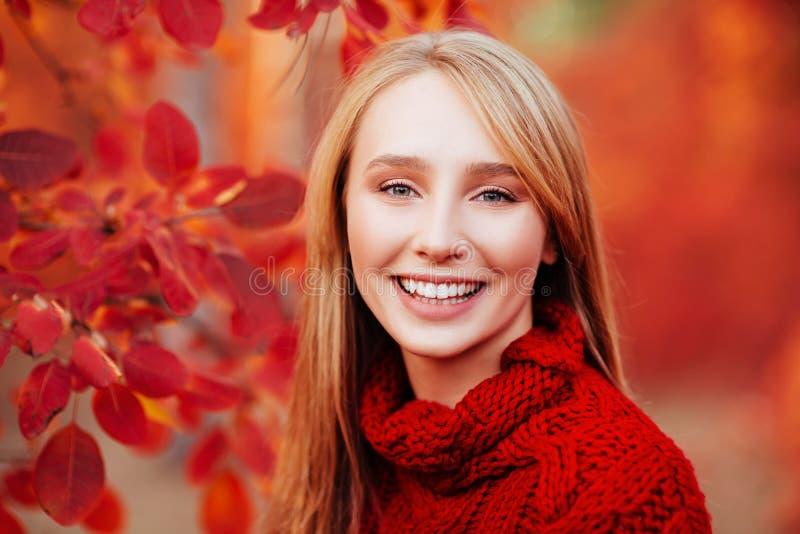 Retrato ascendente cercano de una muchacha hermosa cerca de las hojas de otoño coloridas fotografía de archivo libre de regalías