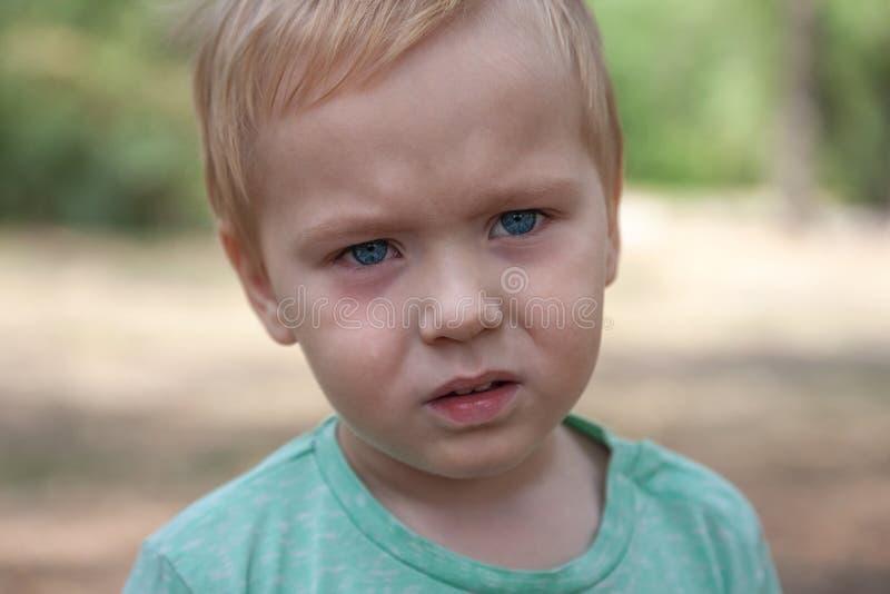 Retrato ascendente cercano del bebé caucásico lindo con la expresión seria en ojos azules imagen de archivo