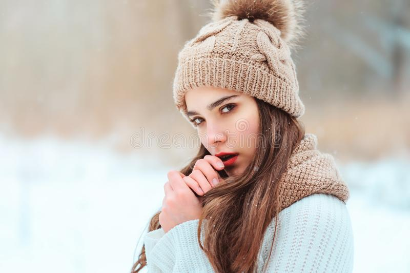 retrato ascendente cercano del invierno de la mujer joven hermosa en sombrero y suéter hechos punto que camina en parque nevoso fotos de archivo libres de regalías