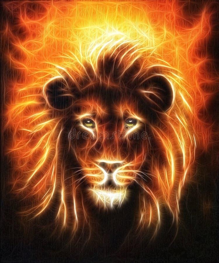 Retrato ascendente cercano del león, cabeza del león con la melena de oro, pintura al óleo detallada hermosa en la lona, efecto d ilustración del vector