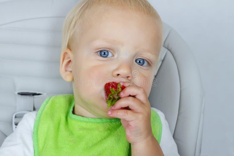 Retrato ascendente cercano del niño pequeño feliz en una silla con las fresas, niño lindo del bebé que come las frutas maduras fotos de archivo libres de regalías