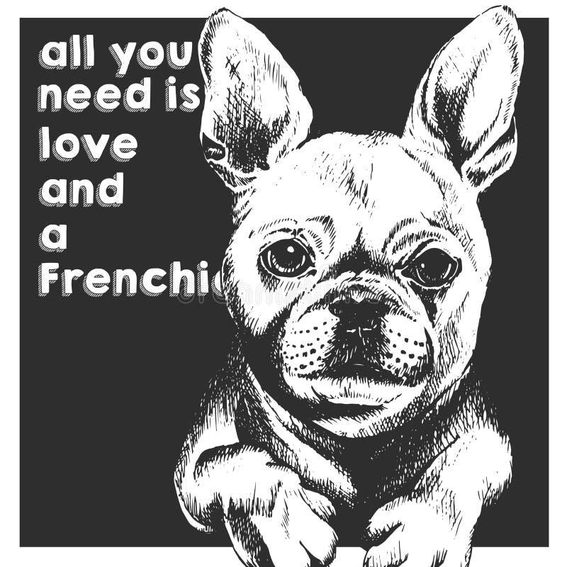 Retrato ascendente cercano del vector del dogo francés, en fondo de la casilla negra Todo lo que usted necesita es amor y un perr libre illustration