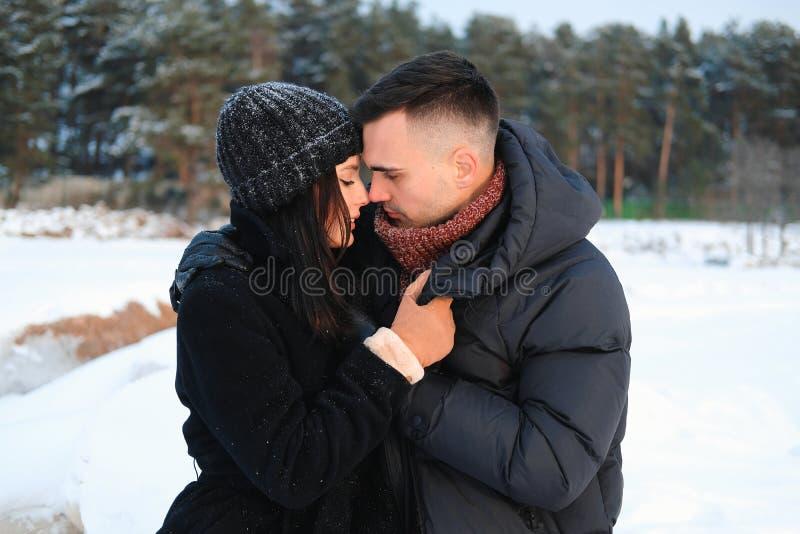 Retrato ascendente próximo de pares atrativos novos no abraço do amor exterior no parque do inverno Enj macio sensual do noivo e  fotos de stock