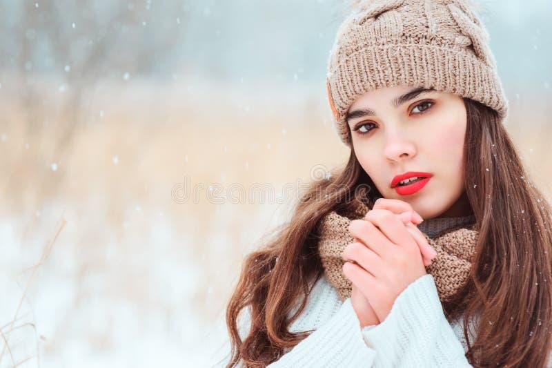 retrato ascendente próximo do inverno da jovem mulher bonita na queda de neve inferior exterior de passeio feita malha do chapéu  foto de stock royalty free