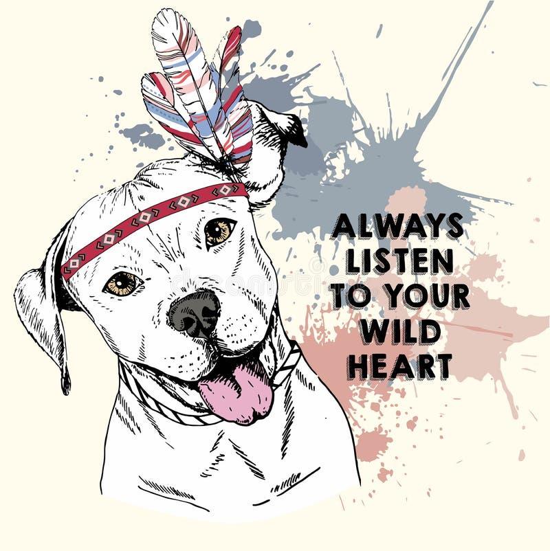Retrato ascendente próximo do vetor do cão do pitbull, vestindo o headpiece indiano da pena ilustração stock