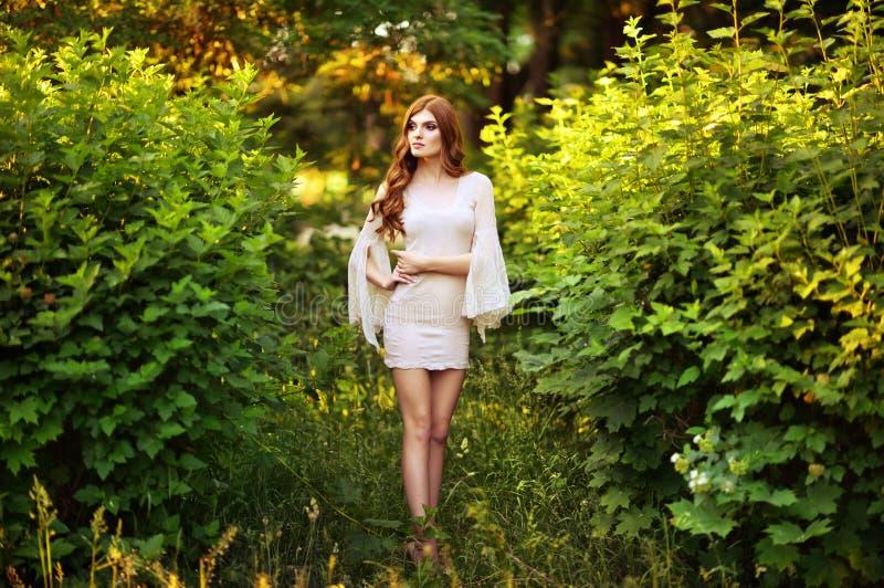 Retrato ascendente pr?ximo do levantamento bonito da jovem mulher imagem de stock royalty free