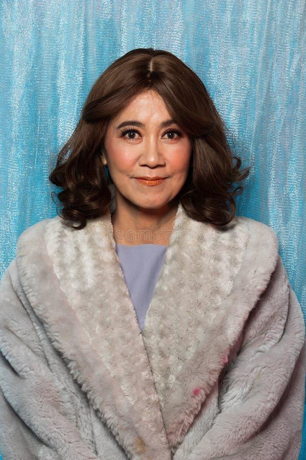 retrato asiático da mulher da forma velha dos anos de 50s 60s imagem de stock royalty free