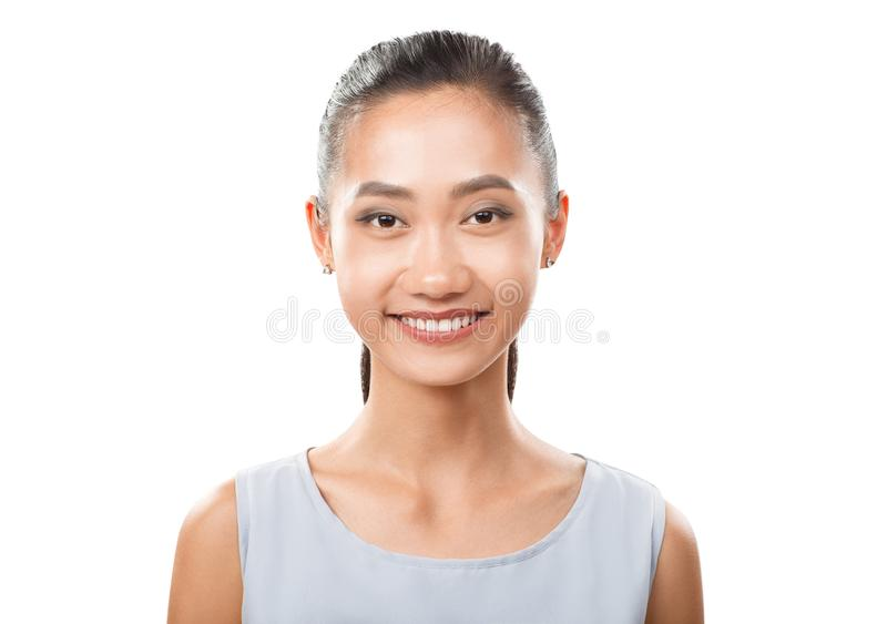 Retrato asiático de sorriso do close up da mulher imagem de stock