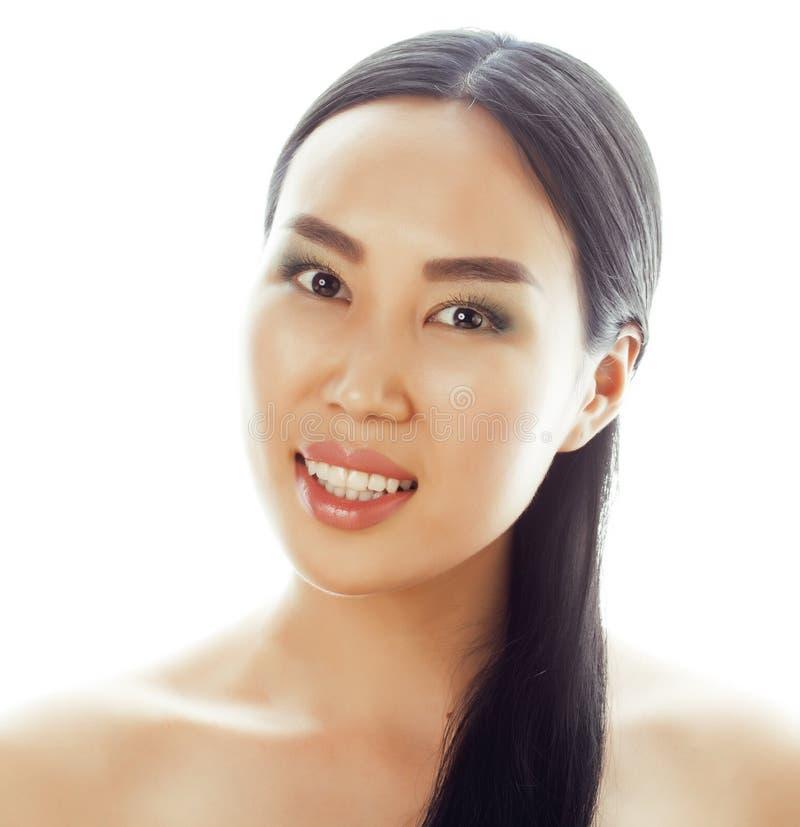 Retrato asiático do close up da face da beleza da mulher Asiático chinês atrativo bonito da raça misturada/modelo fêmea caucasian fotografia de stock royalty free