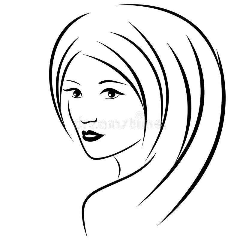 Retrato atrativo abstrato das jovens mulheres ilustração royalty free