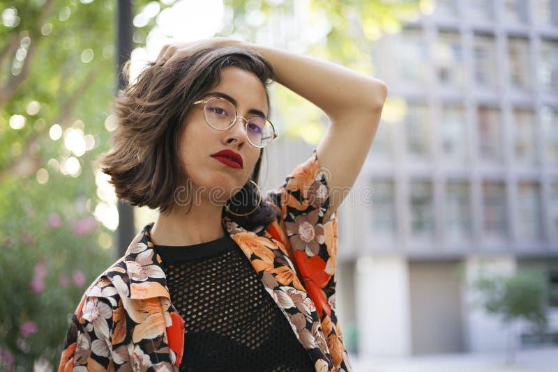 Retrato autorizado español del perfil de la mujer foto de archivo libre de regalías