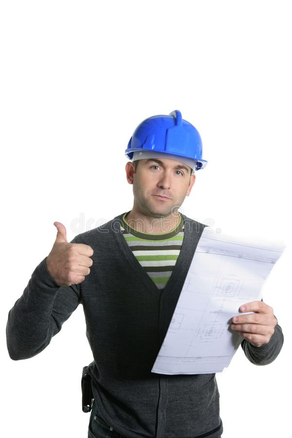 Retrato azul do contramestre do capacete de segurança no branco fotos de stock