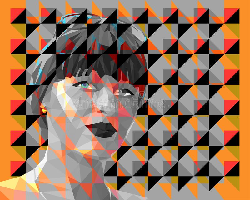 retrato Bajo-polivinílico de una mujer atractiva joven libre illustration