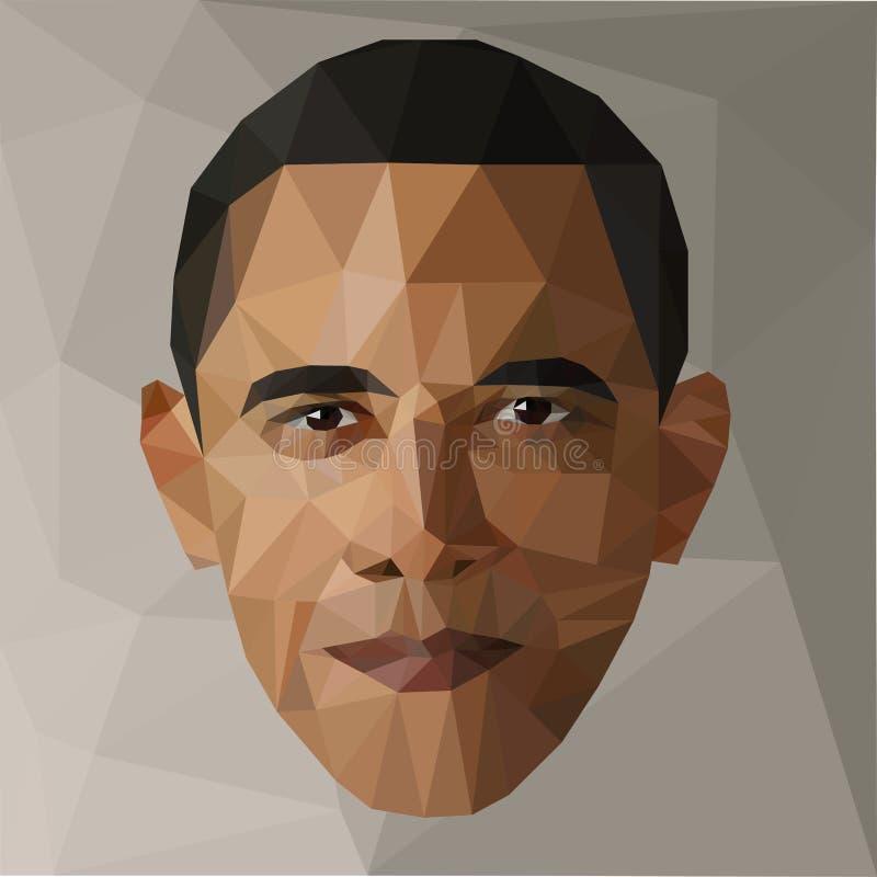 Retrato Barack Obama U S presidente baixos EUA polis ilustração do vetor