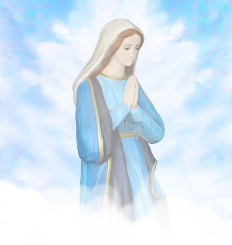Retrato bendecido de la Virgen María ilustración del vector