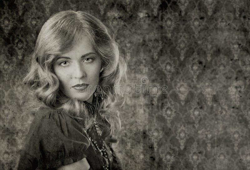 Retrato blanco y negro del vintage fotografía de archivo