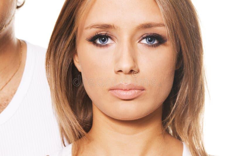 Retrato bonito da face da mulher imagem de stock
