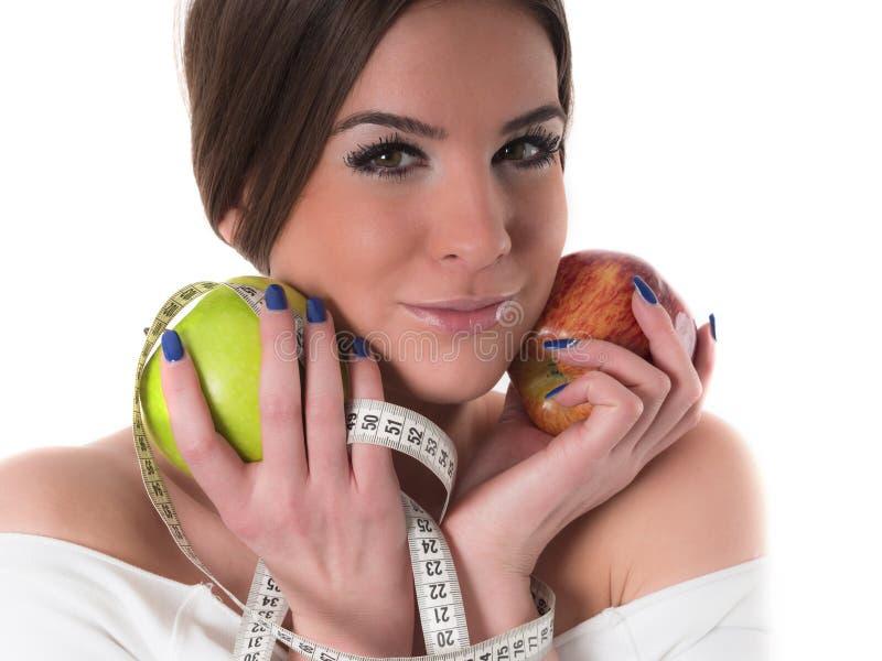 Retrato bonito da jovem mulher, conceito da dieta fotos de stock