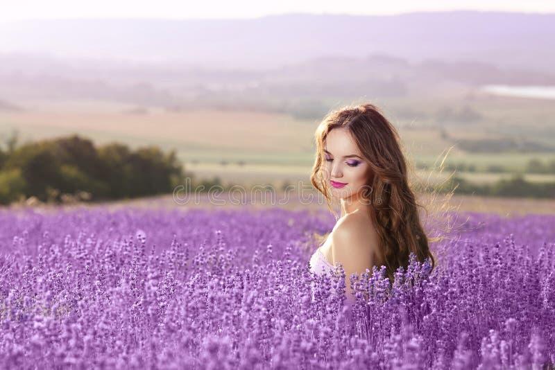 Retrato bonito da jovem mulher no campo da alfazema Bru atrativo foto de stock