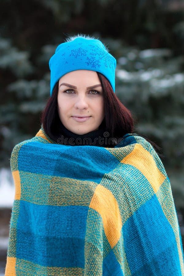 Retrato bonito da moça no fundo do inverno Jovem senhora encantador que anda em um levantamento atrativo da mulher da floresta do imagem de stock