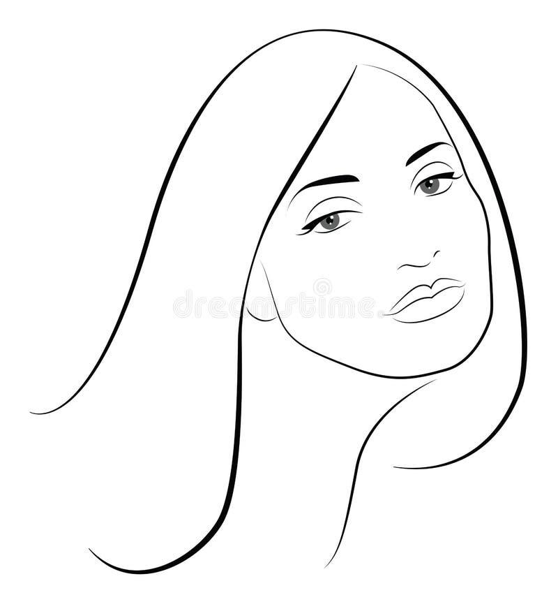 Retrato bonito da mulher ilustração royalty free