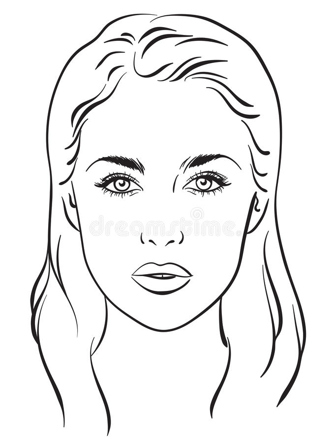 Retrato bonito da mulher Carta da cara Ilustração do vetor ilustração do vetor