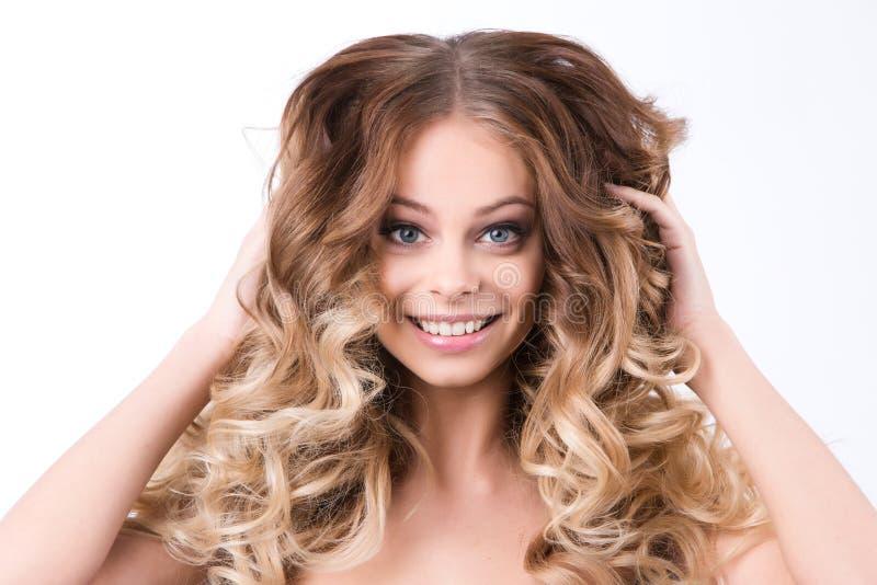 Retrato bonito da mulher Composição e cabelo foto de stock royalty free