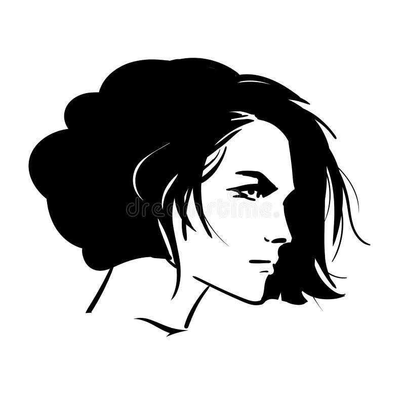 Retrato bonito da mulher do penteado de Bob Vista sobre seu ombro Vetor Estilo preto e branco Ilustra??o ilustração royalty free