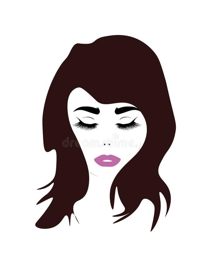 Retrato bonito da mulher da forma Ilustração tirada mão para a cópia preto e branco, cartão ilustração stock