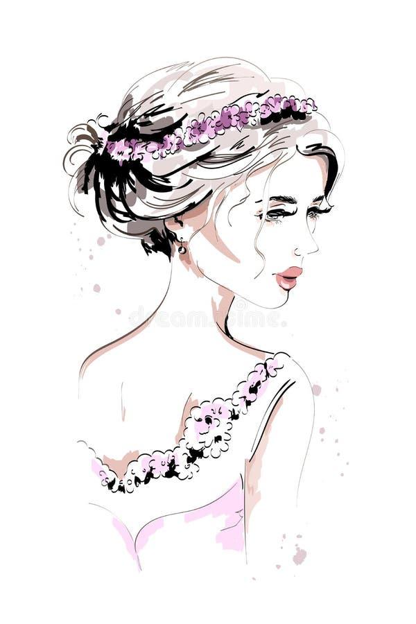 Retrato bonito da mulher nova Mulher da forma Menina bonito tirada mão com grinalda da flor e penteado bonito ilustração royalty free