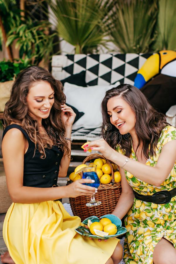 Retrato bonito de duas irmãs felizes mim roupa brilhante vestindo com limões imagens de stock
