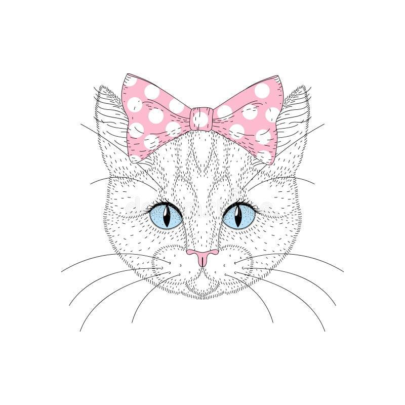 Retrato bonito do gato com o pino acima do laço na cabeça Vaquinha tirada mão ilustração stock