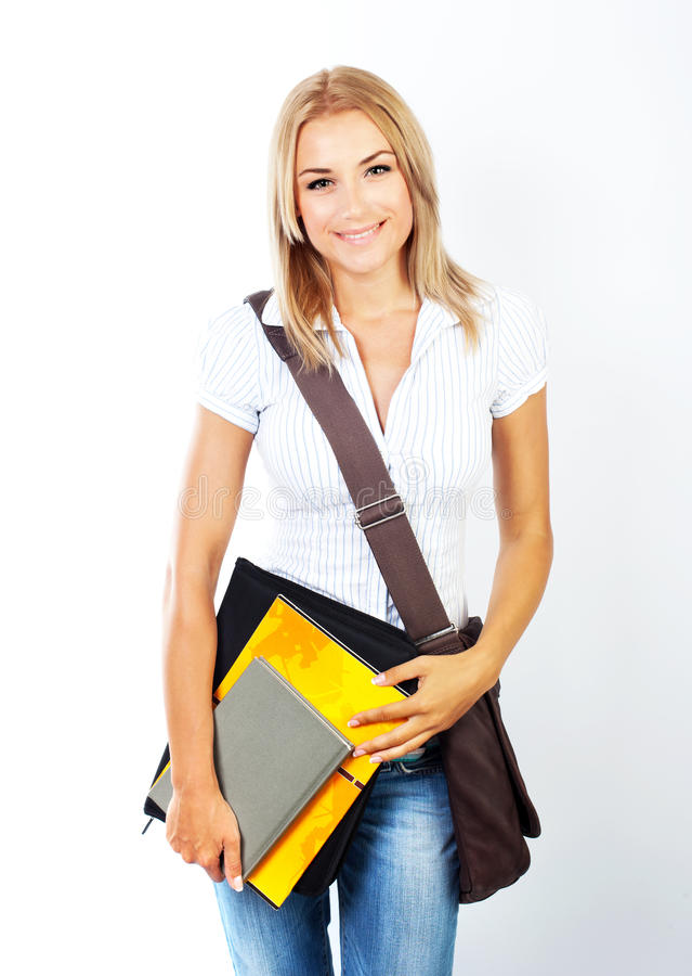 Retrato bonito feliz do estudante imagens de stock