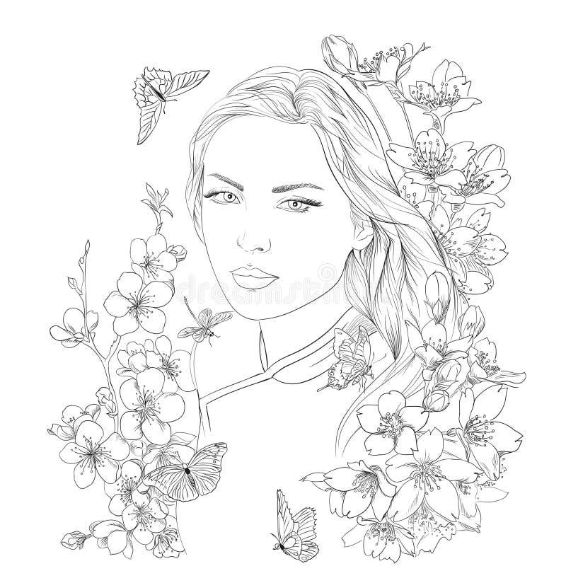 Retrato bonito novo da mulher Sakura floresce a flor Menina romântica da senhora ilustração royalty free