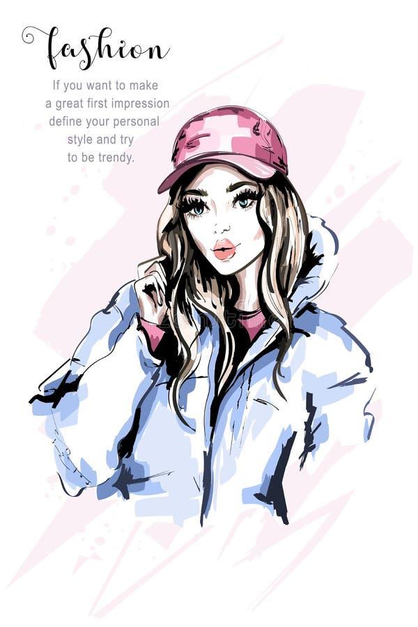 Retrato bonito tirado mão da jovem mulher Mulher da forma no tampão Menina bonito à moda com cabelo longo Modelo de forma na roup ilustração royalty free