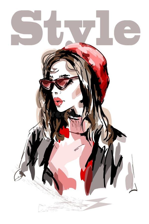 Retrato bonito tirado mão da mulher Mulher da forma no chapéu vermelho Menina bonito com cabelo longo ilustração royalty free