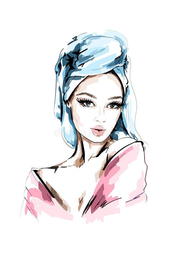 Retrato bonito tirado mão da mulher Forme a mulher com a toalha de banho em sua cabeça esboço ilustração stock