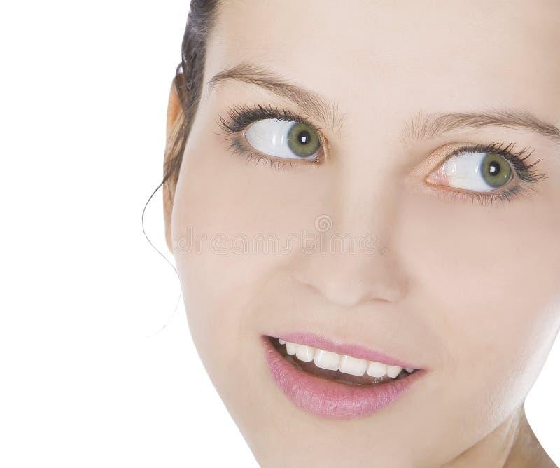 Retrato brilhante da face de sorriso da mulher nova imagem de stock royalty free