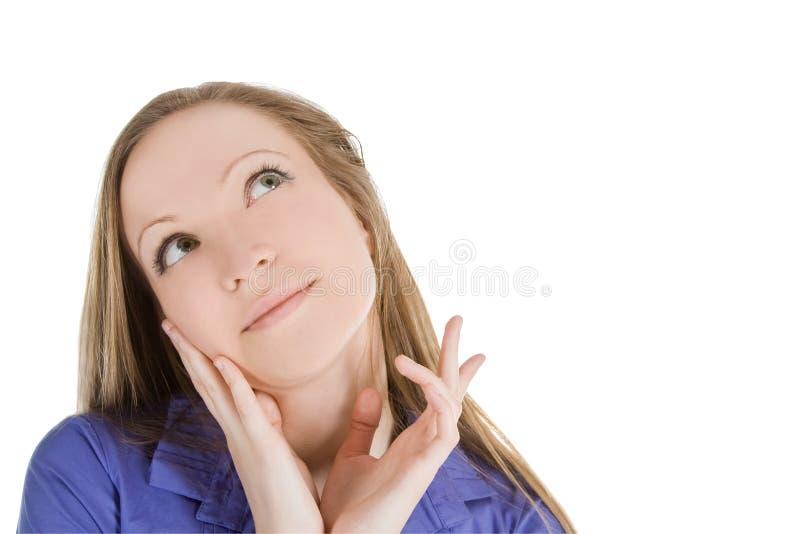 Retrato brilhante da mulher de pensamento encantadora imagens de stock royalty free