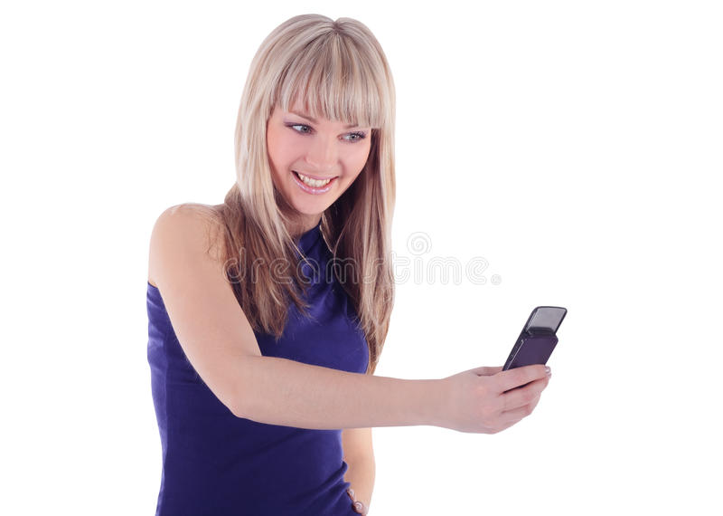 Retrato brilhante da mulher feliz com telefone de pilha fotos de stock royalty free