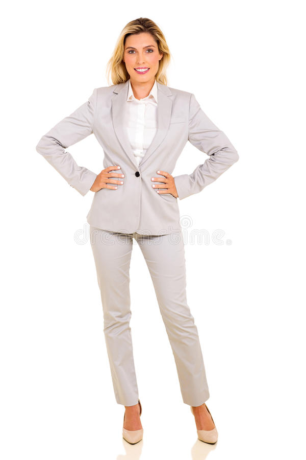 Retrato cheio do comprimento da mulher de negócios imagem de stock royalty free
