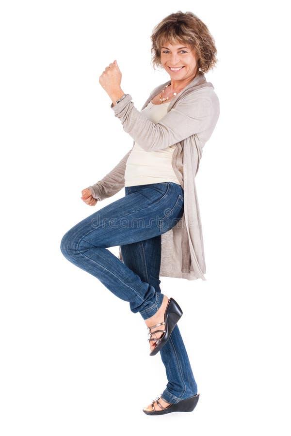 Retrato cheio do comprimento da mulher sênior imagens de stock