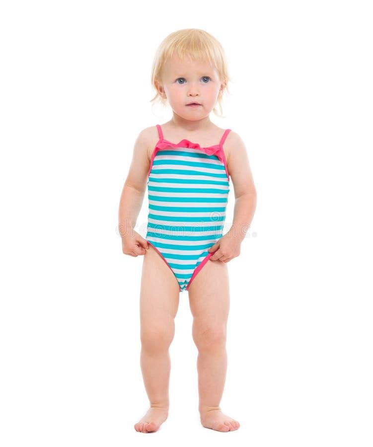 Retrato cheio do comprimento do bebê no swimsuit fotos de stock royalty free