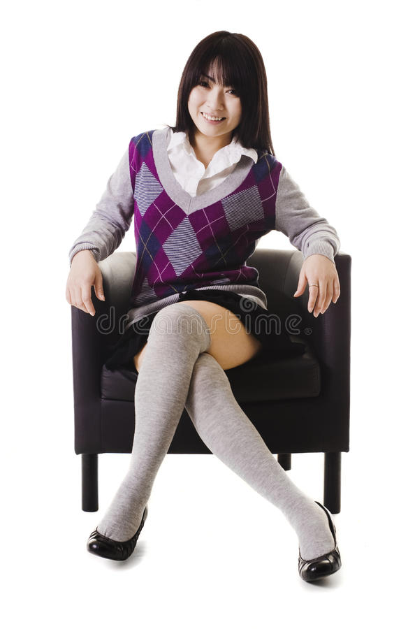 Retrato chinês da menina da escola. fotos de stock