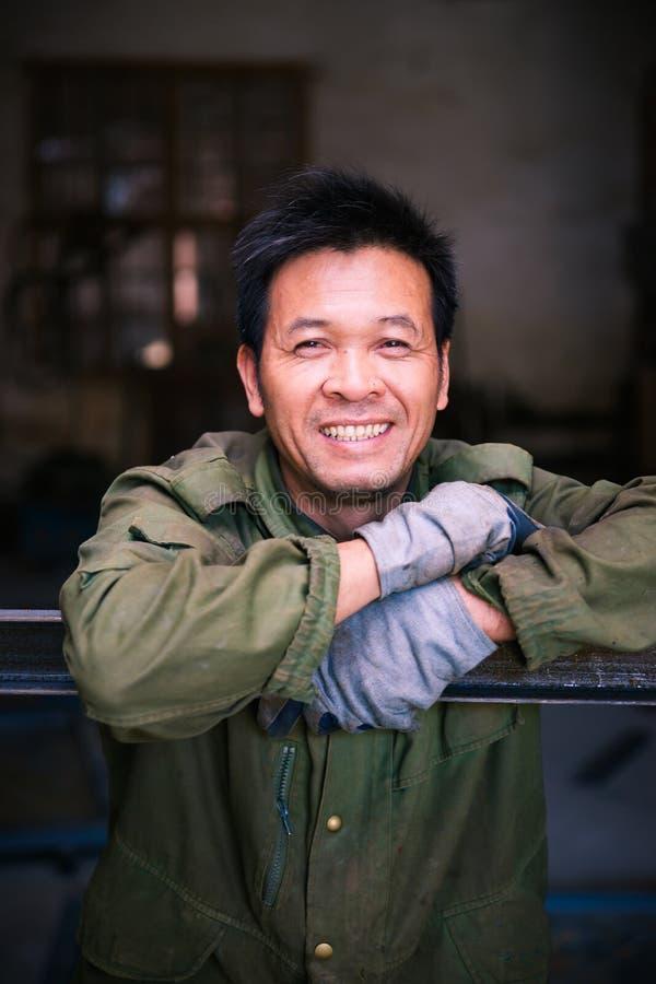Retrato chinês do trabalhador imagem de stock royalty free