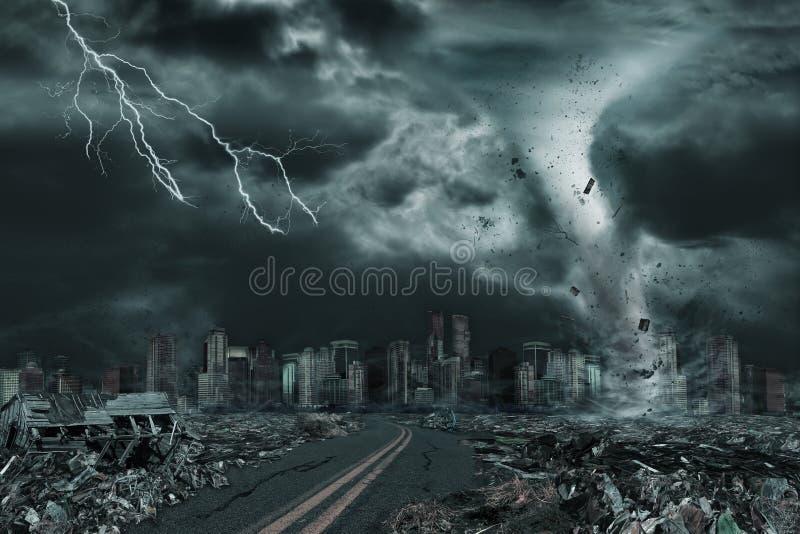 Retrato cinemático da cidade destruído pelo furacão ou pelo furacão ilustração royalty free