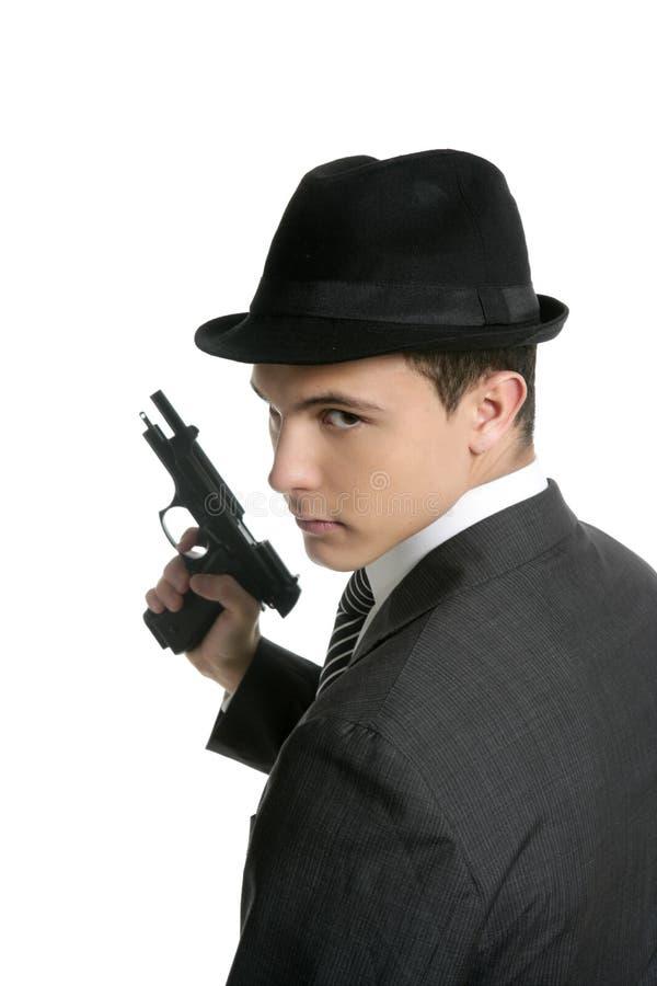 Retrato clásico de la mafia, hombre con el arma foto de archivo libre de regalías